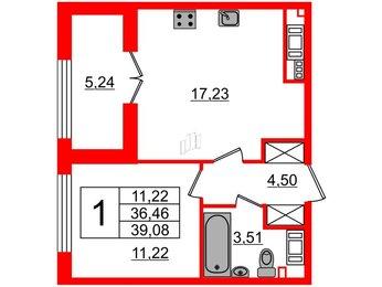 Квартира в ЖК The One, 1 комнатная, 36.46 м², 5 этаж