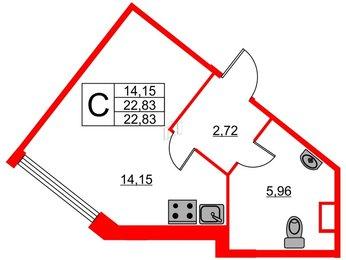 Квартира в ЖК «Нью Тайм», студия, 22.83 м², 2 этаж