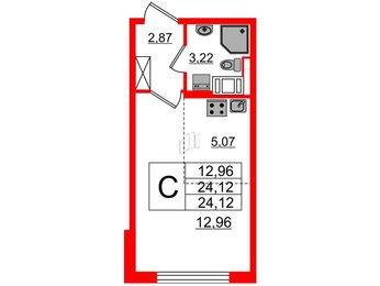 Квартира в ЖК ПАЛАЦИО, студия, 24.12 м², 2 этаж