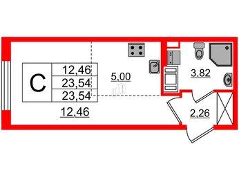 Квартира в ЖК ПАЛАЦИО, студия, 23.54 м², 2 этаж