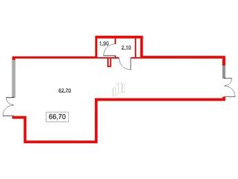 Помещение в ЖК Life-Лесная, 66.7 м², 1 этаж