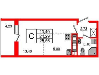 Квартира в ЖК PULSE на набережной, студия, 24.29 м², 10 этаж