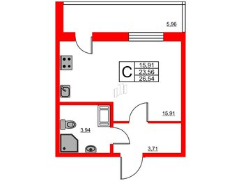 Квартира в ЖК «Охта Хаус», студия, 26.54 м², 14 этаж