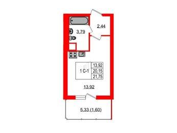 Квартира в ЖК ЯСНО.ЯНИНО, студия, 21.75 м², 1 этаж