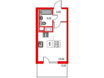 Квартира в ЖК ЯСНО.ЯНИНО, студия, 21.29 м², 4 этаж