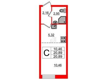 Квартира в ЖК Материк, студия, 20.87 м², 1 этаж