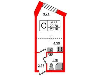 Квартира в ЖК Чистый ручей, студия, 20.77 м², 1 этаж