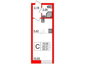 Квартира в ЖК Северный вальс, студия, 20.21 м², 1 этаж