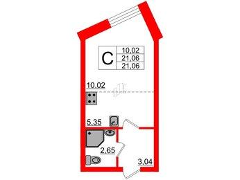 Квартира в ЖК Северный вальс, студия, 21.06 м², 1 этаж