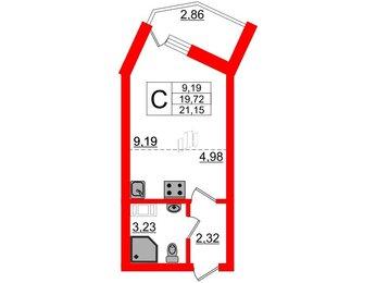 Квартира в ЖК Ломоносовъ, студия, 21.15 м², 5 этаж
