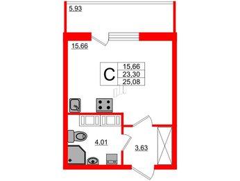Квартира в ЖК Питер, студия, 25.08 м², 20 этаж