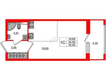 Квартира в ЖК Эмеральд на Малой Неве, студия, 24.56 м², 1 этаж