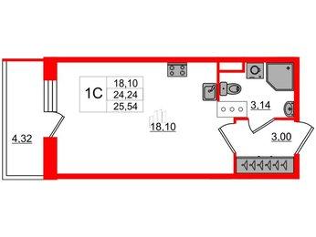 Квартира в ЖК Стрижи в Невском, студия, 24.24 м², 4 этаж