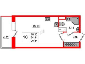 Квартира в ЖК Стрижи в Невском, студия, 24.24 м², 6 этаж