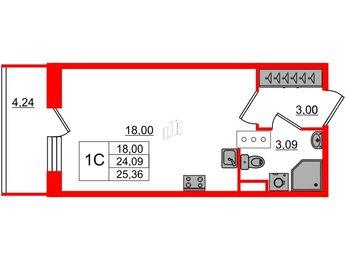 Квартира в ЖК Стрижи в Невском, студия, 24.09 м², 2 этаж