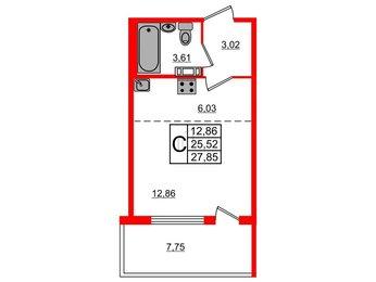 Квартира в ЖК «Юттери», студия, 27.85 м², 2 этаж