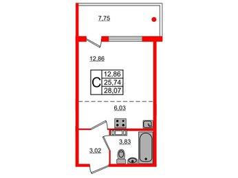 Квартира в ЖК «Юттери», студия, 28.07 м², 2 этаж