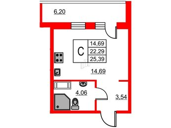 Квартира в ЖК ID Мурино, студия, 25.39 м², 4 этаж