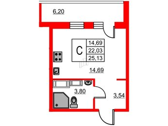 Квартира в ЖК ID Мурино, студия, 25.13 м², 17 этаж