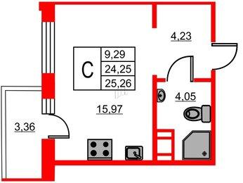 Квартира в ЖК ID Мурино, студия, 25.26 м², 9 этаж