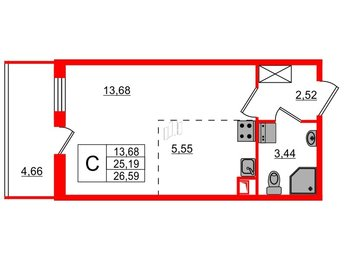 Квартира в ЖК PULSE на набережной, студия, 25.19 м², 1 этаж