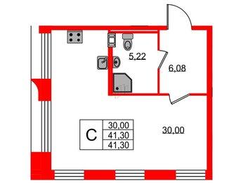 Квартира в ЖК Neopark, студия, 41.3 м², 3 этаж