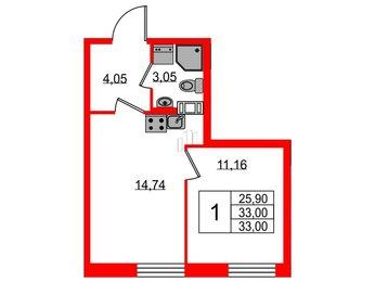 Квартира в ЖК Neopark, 1 комнатная, 33 м², 8 этаж