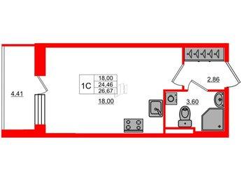Квартира в ЖК Стрижи в Невском, студия, 24.46 м², 2 этаж