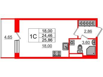 Квартира в ЖК Стрижи в Невском, студия, 24.46 м², 1 этаж