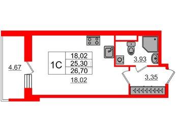 Квартира в ЖК Стрижи в Невском, студия, 25.3 м², 1 этаж