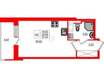 Квартира в ЖК Стрижи в Невском, студия, 24.89 м², 10 этаж