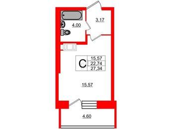 Квартира в ЖК «Северный», студия, 22.74 м², 18 этаж