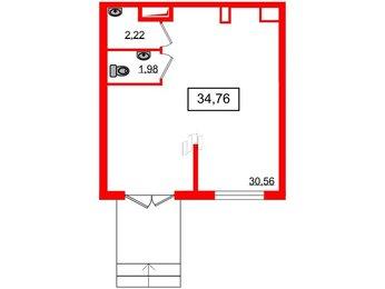 Помещение в ЖК ЯСНО.ЯНИНО, 34.76 м², 1 этаж