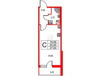 Квартира в ЖК Статус у Парка Победы, студия, 25.9 м², 1 этаж