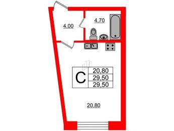 Квартира в ЖК Эталон на Неве, студия, 29.5 м², 2 этаж
