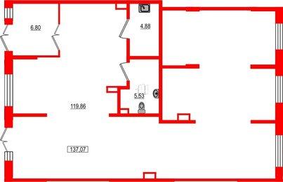 Помещение в ЖК Статус у Парка Победы, 137.07 м², 1 этаж