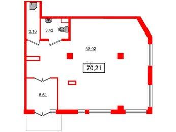 Помещение в ЖК Статус у Парка Победы, 70.21 м², 1 этаж