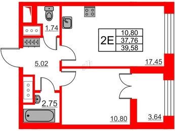 Квартира в ЖК The One, 1 комнатная, 37.76 м², 1 этаж