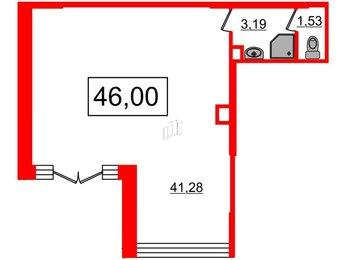 Помещение в ЖК Облака на Лесной, 46 м², 1 этаж