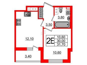 Квартира в ЖК Svetlana Park, 1 комнатная, 30 м², 8 этаж
