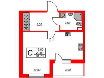 Квартира в ЖК Svetlana Park, студия, 29.9 м², 2 этаж