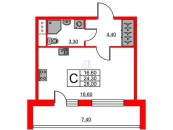 Квартира в ЖК Svetlana Park, студия, 24.3 м², 8 этаж
