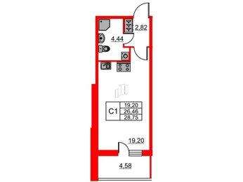 Квартира в ЖК Притяжение, студия, 26.46 м², 1 этаж