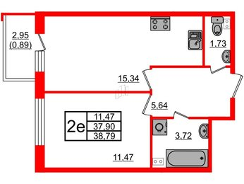 Квартира в ЖК UP! Квартал Пушкинский, 1 комнатная, 38.79 м², 1 этаж