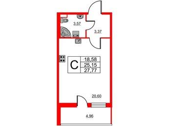 Квартира в ЖК Статус у Парка Победы, студия, 27.54 м², 1 этаж