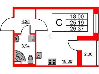 Квартира в ЖК Статус у Парка Победы, студия, 25.19 м², 1 этаж