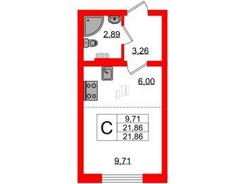 Квартира в ЖК Ручьи, студия, 21.86 м², 1 этаж