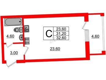 Квартира в ЖК Эталон на Неве, студия, 32.6 м², 5 этаж