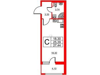 Квартира в ЖК Статус у Парка Победы, студия, 25.39 м², 4 этаж