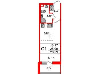Квартира в ЖК «Солнечный город», студия, 25.09 м², 1 этаж
